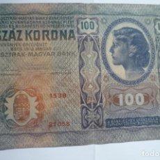 Billetes extranjeros: BILLETE OSZTRAK MAGYAR BANK SZAZ KORONA 100 AÑO 1912. Lote 175411065