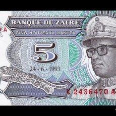 Billetes extranjeros: ZAIRE 5 MAKUTA 1993 PICK 48 SC UNC. Lote 255940765
