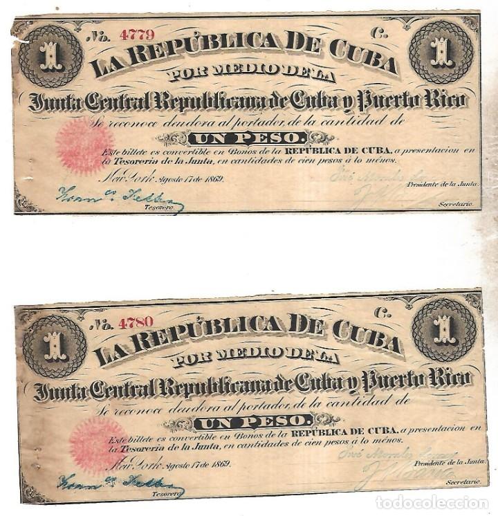 PAREJA BILLETES CORRELATIVOS. LA REPUBLICA DE CUBA. UN PESO. 1869. VER FOTOS (Numismática - Notafilia - Billetes Extranjeros)