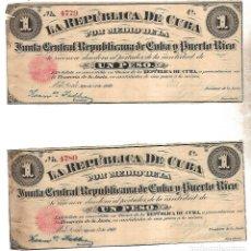 Billetes extranjeros: PAREJA BILLETES CORRELATIVOS. LA REPUBLICA DE CUBA. UN PESO. 1869. VER FOTOS. Lote 175664499