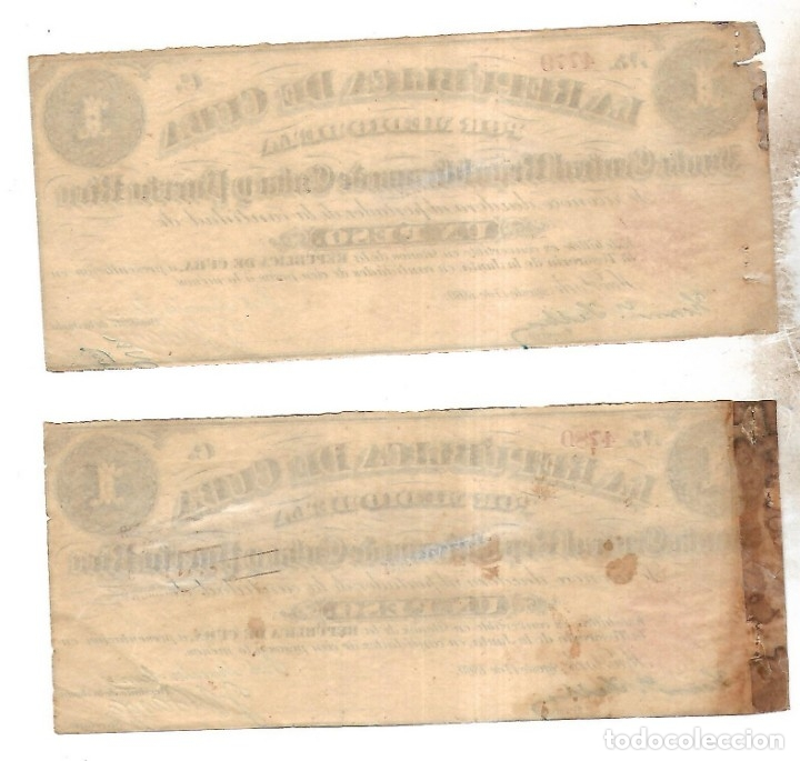 Billetes extranjeros: PAREJA BILLETES CORRELATIVOS. LA REPUBLICA DE CUBA. UN PESO. 1869. VER FOTOS - Foto 2 - 175664499