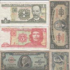 Billetes extranjeros: LOTE DE 6 BILLETES DE CUBA- 1-3-5 Y 20 PESOS-CHE GUEVARA. Lote 175859288