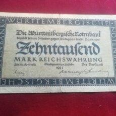 Billetes extranjeros: WÜRTTEMBERG. 10000 MARCOS DE 1923. Lote 175868685