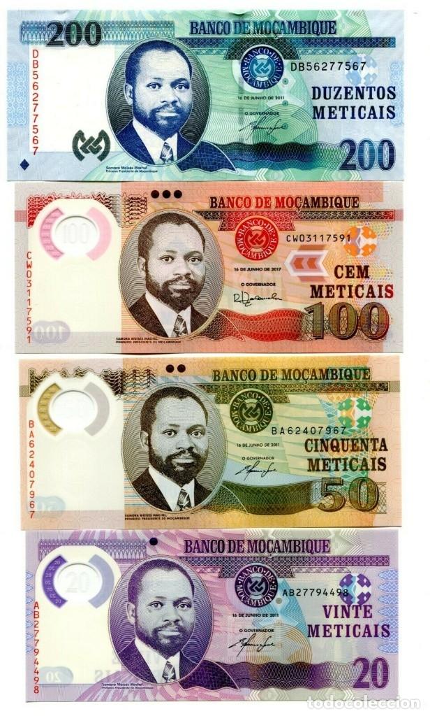 MOZAMBIQUE 20 50 100 200 METICAIS 2011-17 P-149-152 UNC SET OF 4 BILLETES (Numismática - Notafilia - Billetes Extranjeros)