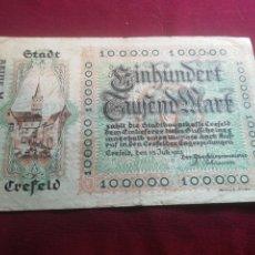 Billetes extranjeros: ALEMANIA 100000 MARCOS, CREFELD 15-7-1923. Lote 175872982