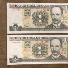 Billetes extranjeros: LOTE DE 2 BILLETES DE 1 PESO CUBANO DE 2011. CUBA. JOSÉ MARTÍ.. Lote 176003055