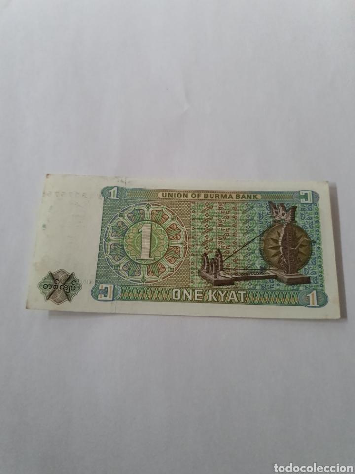 Billetes extranjeros: Billete de Myanmar. 1 kiat - Foto 2 - 176036313