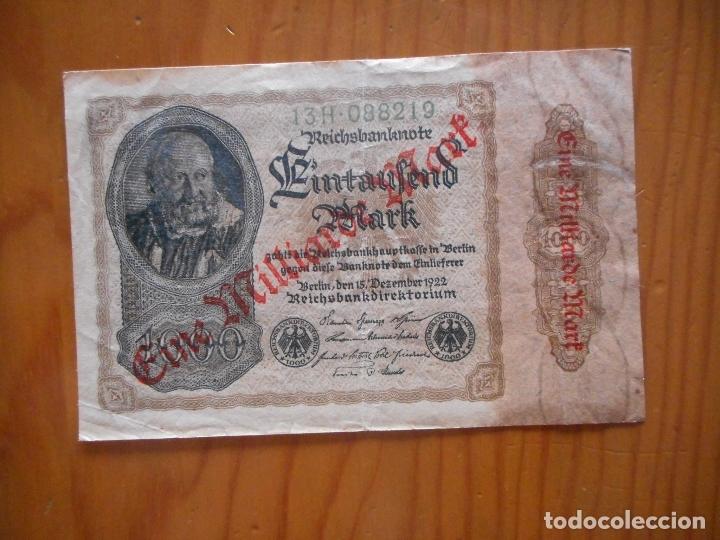 Billetes extranjeros: Lote 4 Billetes Imperio Alemán. 1923 y 1922. Reichsbanknote. Muy raros. Difíciles. Ver descripción - Foto 9 - 176202402