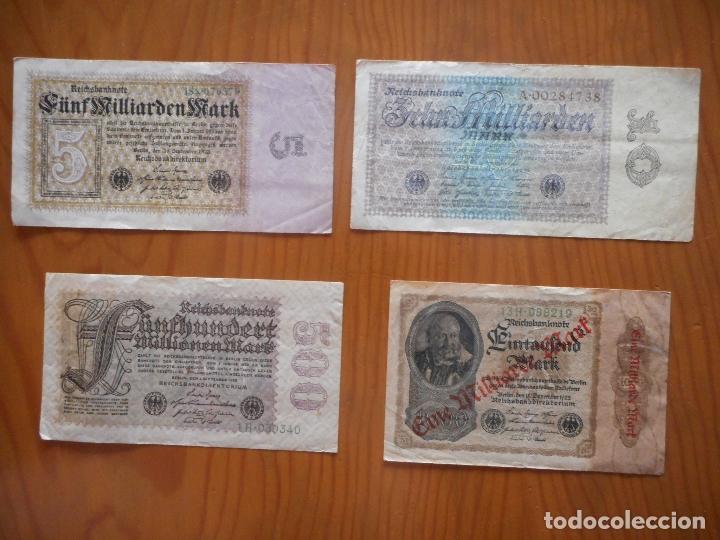LOTE 4 BILLETES IMPERIO ALEMÁN. 1923 Y 1922. REICHSBANKNOTE. MUY RAROS. DIFÍCILES. VER DESCRIPCIÓN (Numismática - Notafilia - Billetes Extranjeros)