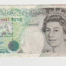 Billetes extranjeros: INGLATERRA/GRAN BRETANIA-5 LIBRAS/POUNDS-1990. Lote 176268754