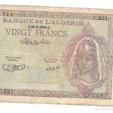 Billetes extranjeros: ARGELIA / ALGERIA 20 FRANCS 1944. Lote 176409733