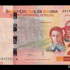 Billetes extranjeros: BOLIVIA 20 BOLIVIANOS 2018 PICK 49 NUEVO DISEÑO SC UNC. Lote 221953996