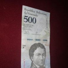 Billetes extranjeros: VENEZUELA 500 BOLIVARES, 2016/2017. Lote 176515088