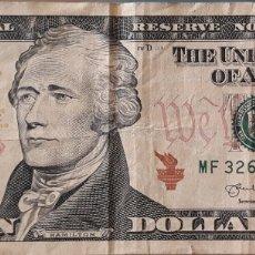 Billetes extranjeros: BILLETE ESTADOS UNIDOS 10 DÓLARES 2013. Lote 176557867