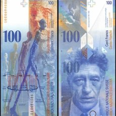 Billetes extranjeros: SUIZA 100 FRANCOS NUEVOS PLANCHA SC. Lote 176572968