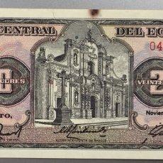 Billetes extranjeros: ECUADOR. 20 SUCRES. Lote 176985930