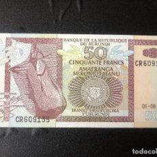 Billetes extranjeros: BURUNDI 50 FRANCOS 2001 P36C S/C. Lote 177031015