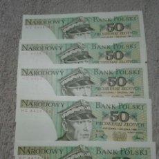 Billetes extranjeros: POLONIA LOTE 5 BILLETES 50 CLOTIS PLANCHA 1988. Lote 177072032