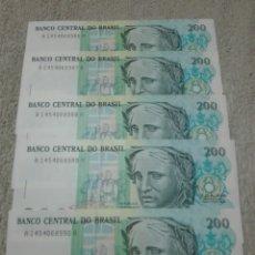 Billetes extranjeros: BRASIL 5 BILLETES 200 CRUZADOS PLANCHA. Lote 177072117