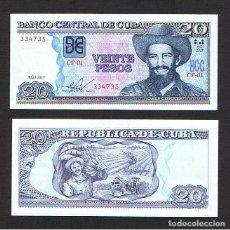 Billetes extranjeros: CUBA : 20 PESOS 2015 ( CAMILO CIENFUEGOS ) SC UNC P-122. Lote 195521540