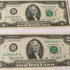 Billetes extranjeros: USA - 2 BILLETES DE 2 DÓLARES CORRELATIVOS - PLANCHA- 1976. Lote 195534908