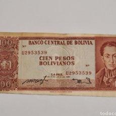 Billetes extranjeros: BILLETE DE BOLIVIA. 100 PESOS BOLIVARIANOS.1962. Lote 177265234