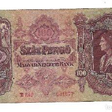 Billetes extranjeros: HUNGRIA 100 PENGO 1930. Lote 177615148