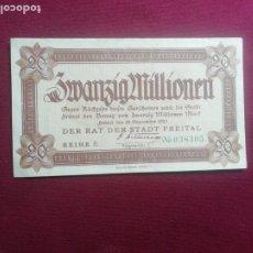 Billetes extranjeros: ALEMANIA WEIMAR 20 MILLONES DE MARCOS 24 SEPTIEMBRE 1923 FREITAL STADT SC- . Lote 177774892