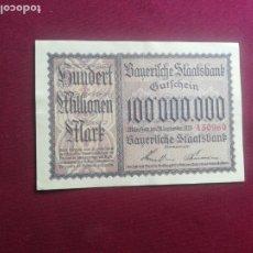 Billetes extranjeros: ALEMANIA, BAVIERA. 100 000 000 MARK BAYERN MUNICH NOTGELD GUTSCHEIN 1923. Lote 177775113