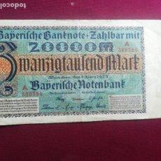 Billetes extranjeros: ALEMANIA, BAVIERA. 20000 MARK 1923 BAVARIA MUNICH BAYERISCHE NOTENBANK. Lote 177776159
