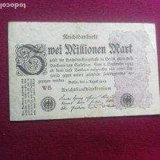 Billetes extranjeros: 2 MILLONES DE MARCOS ( ALEMANIA R. WEIMAR ) 1923. Lote 177780429
