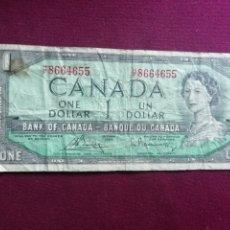 Billetes extranjeros: CANADA BILLETE DE 1 DOLLAR DE 1954. Lote 178343917