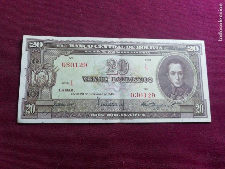 BOLIVIA. BILLETE DE 20 BOLIVIANOS. 1945 (Numismática - Notafilia - Billetes Extranjeros)