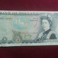 Billetes extranjeros: REINO UNIDO. 5 LIBRAS. 5 POUNDS. Lote 178388311