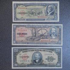 Billetes extranjeros: 4 BILLETES CUBA FIRMA CHE GUEVARA 5 -10 - 20 - 100 PESOS BUENA CONSERVACIÓN SERIE 1959 Y 1960. Lote 178391548