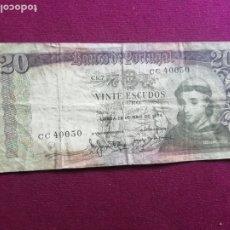Billetes extranjeros: PORTUGAL - 20 ESCUDOS 1964. Lote 178556885