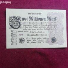 Billetes extranjeros: 2 MILLONES DE MARCOS ( ALEMANIA R. WEIMAR ) 1923 SC. Lote 178565862