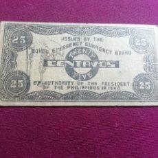 Billetes extranjeros: FILIPINAS. EMISIÓN DE EMERGENCIA 20 CENTAVOS SERIES 1942. Lote 178571250