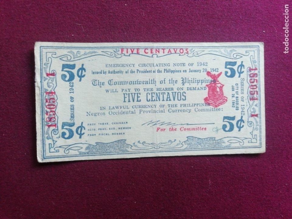 5 CENTAVOS FILIPINAS 1942 (Numismática - Notafilia - Billetes Extranjeros)