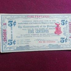 Billetes extranjeros: 5 CENTAVOS FILIPINAS 1942. Lote 178574667