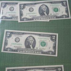Billetes extranjeros: 2 DOLARES ESTADOS UNIDOS CORRELATIVO . Lote 178601116