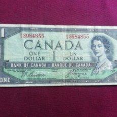 Billetes extranjeros: CANADA. DOLLAR DE 1954. Lote 178609741