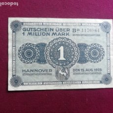 Notas Internacionais: ALEMANIA. HANNOVER. 1 MILLION MARK 1923. Lote 201978791