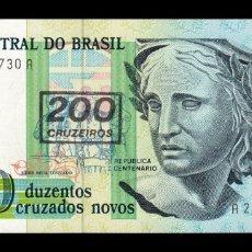 Billetes extranjeros: BRASIL BRAZIL 200 CRUZEIROS 1990 PICK 225B SC UNC . Lote 178666397