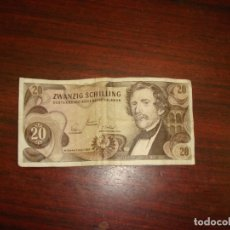 Billetes extranjeros: BILLETE 20 ZWANZIG SCHILLING. 2–JULIO–1.967 OSTERREICHISCHE NATIONALBANK. AUSTRIA. Lote 178932730