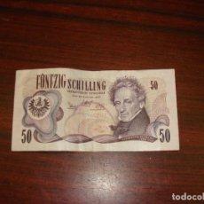 Billetes extranjeros: BILLETE 50 FUNFZIG SCHILLING. 2–ENERO–1.970 OSTERREICHISCHE NATIONALBANK. AUSTRIA. Lote 178933005