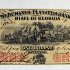 Billetes extranjeros: ESTADOS UNIDOSRARISIMO BILLETE DE 1 DOLAR DE COMERCIANTES Y PLANTADORES BANCO ESTADO DE GEORGIA 1859. Lote 179028867
