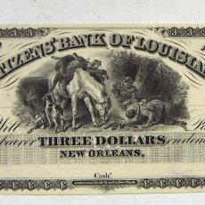 Billetes extranjeros: ESTADOS UNIDOS RARISIMO BILLETE DE 3 DOLARES EL BANCO DE CIUDADANOS DE LOUISIANA 18XX AUTENTICO. Lote 179029701
