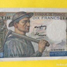 Billetes extranjeros: DIX FRANCS BILLETE DE 10 FRANCOS 1949 BANCO DE FRANCIA MUY BUEN ESTADO . Lote 179095987