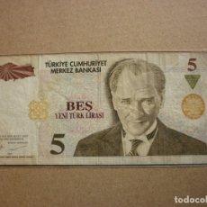 Billetes extranjeros: TURQUIA - 5 LIRA 2005 CIRCULADO . Lote 179104275